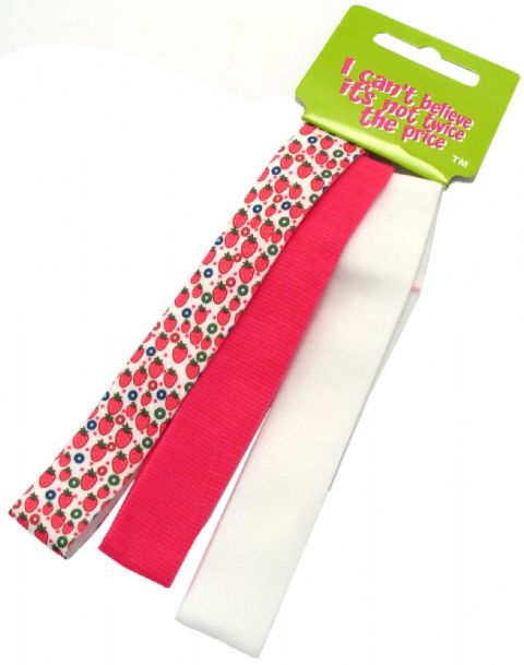 3 Strawberry Print Head Band Bandeaux